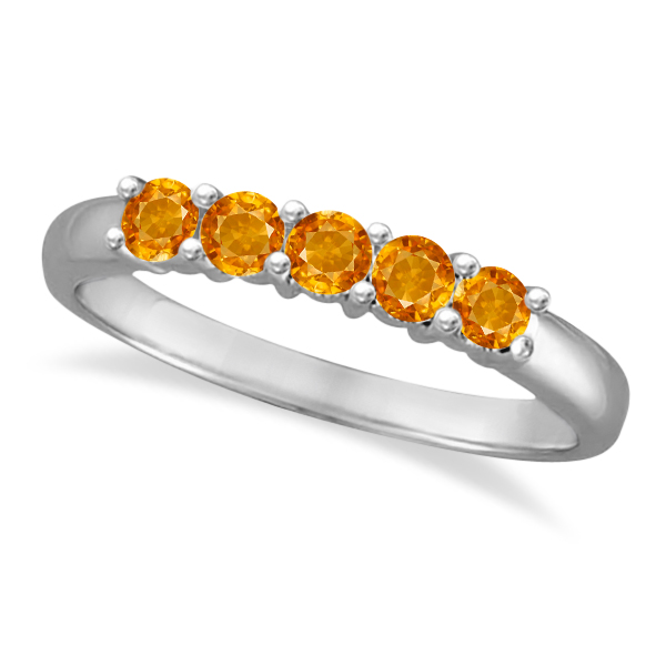Five Stone Citrine Ring 14k White Gold (0.79ctw)