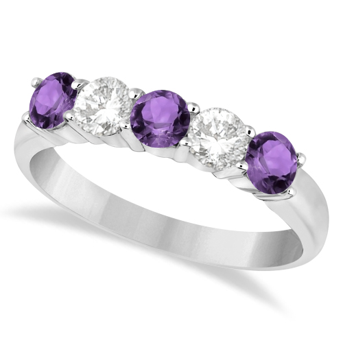 Five Stone Diamond and Amethyst Ring 14k White Gold (1.36ctw)