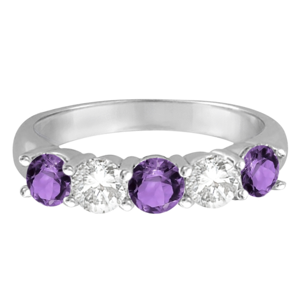 Five Stone Diamond and Amethyst Ring 14k White Gold (1.92ctw)