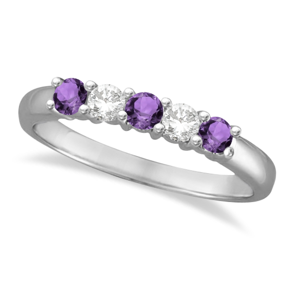 Five Stone Diamond and Amethyst Ring 14k White Gold (0.67ctw)