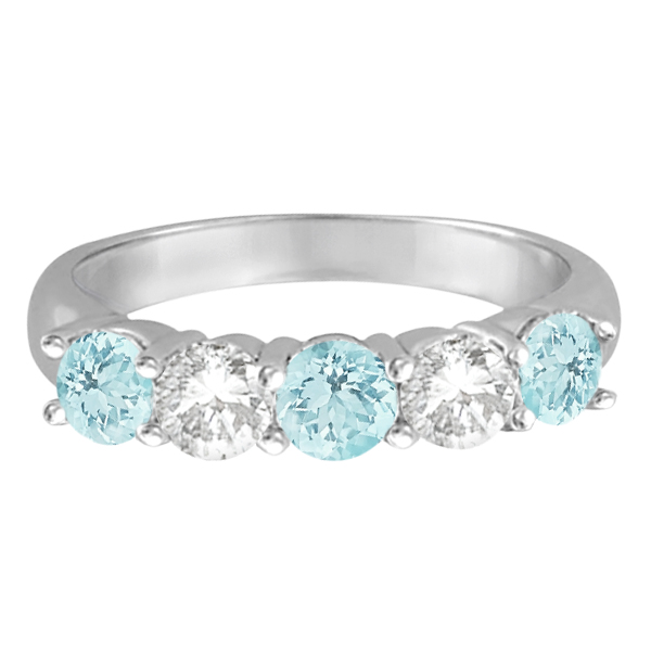 Five Stone Diamond and Aquamarine Ring 14k White Gold (1.92ctw)