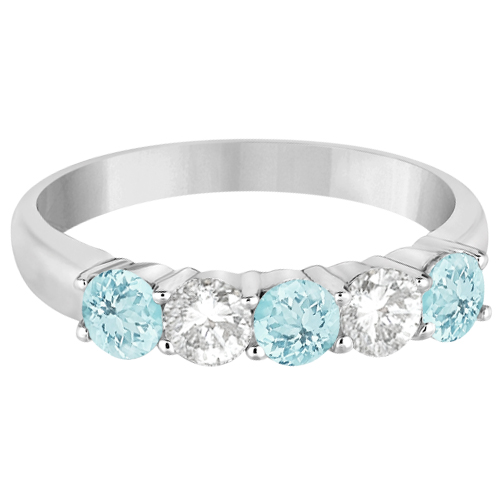 Five Stone Diamond and Aquamarine Ring 14k White Gold (1.36ctw)