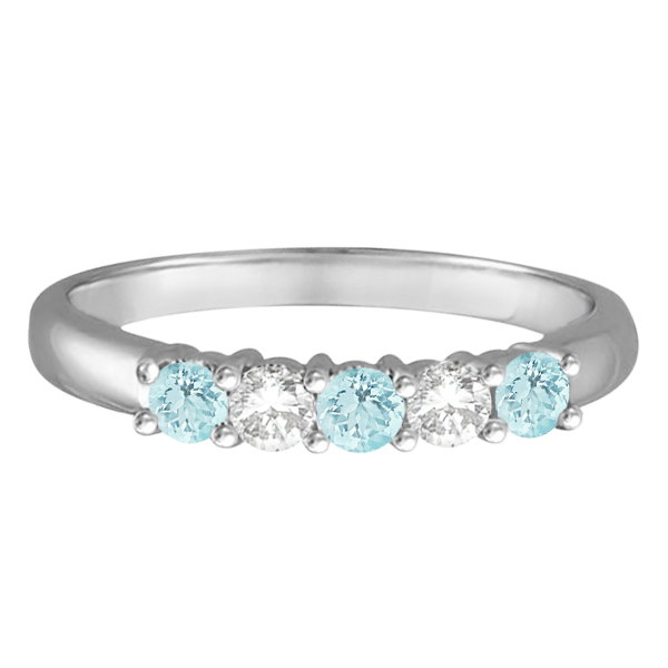 Five Stone Diamond and Aquamarine Ring 14k White Gold (0.67ctw)