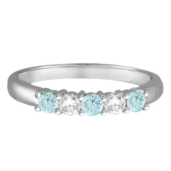 Five Stone Diamond and Aquamarine Ring 14k White Gold (0.67ctw)