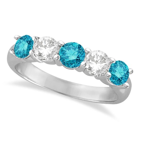 Five Stone White and Blue Diamond Ring 14k White Gold (1.50ctw)