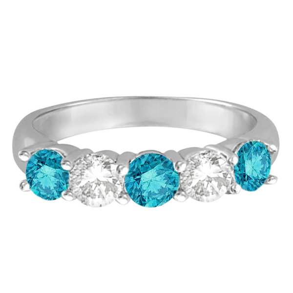Five Stone White and Blue Diamond Ring 14k White Gold (1.50ctw)