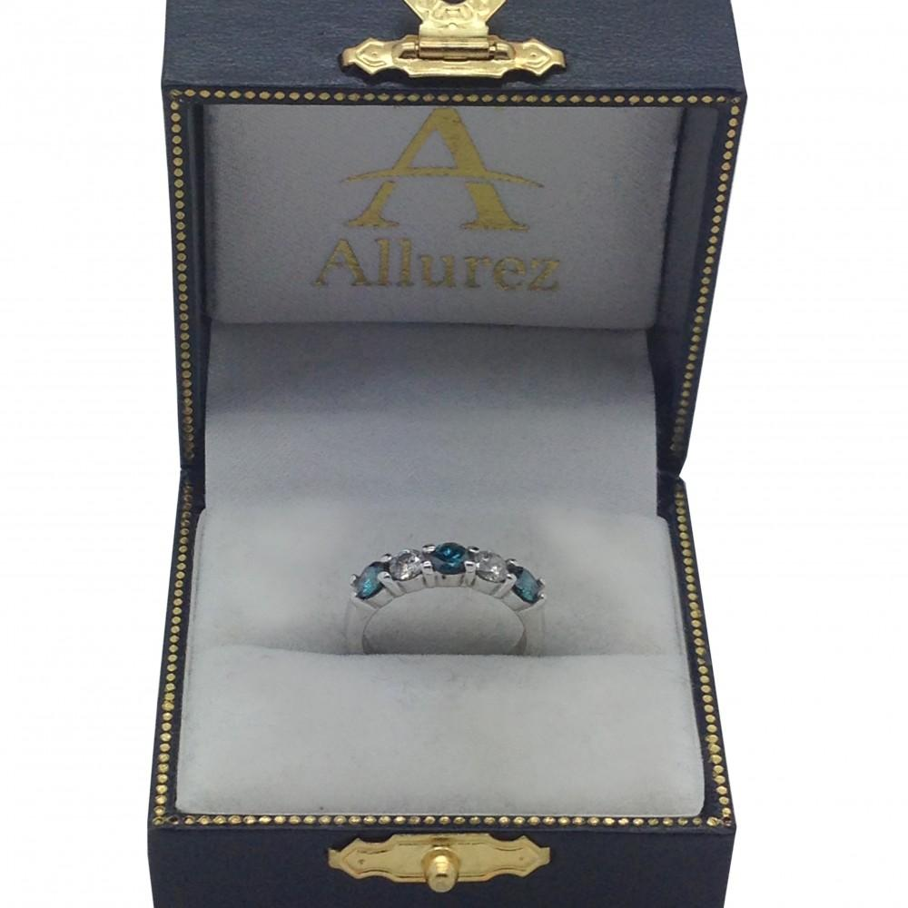 Five Stone White and Blue Diamond Ring 14k White Gold (1.00ctw)