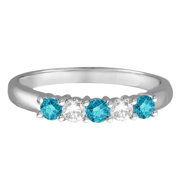 Five Stone White and Blue Diamond Ring 14k White Gold (0.50ctw)