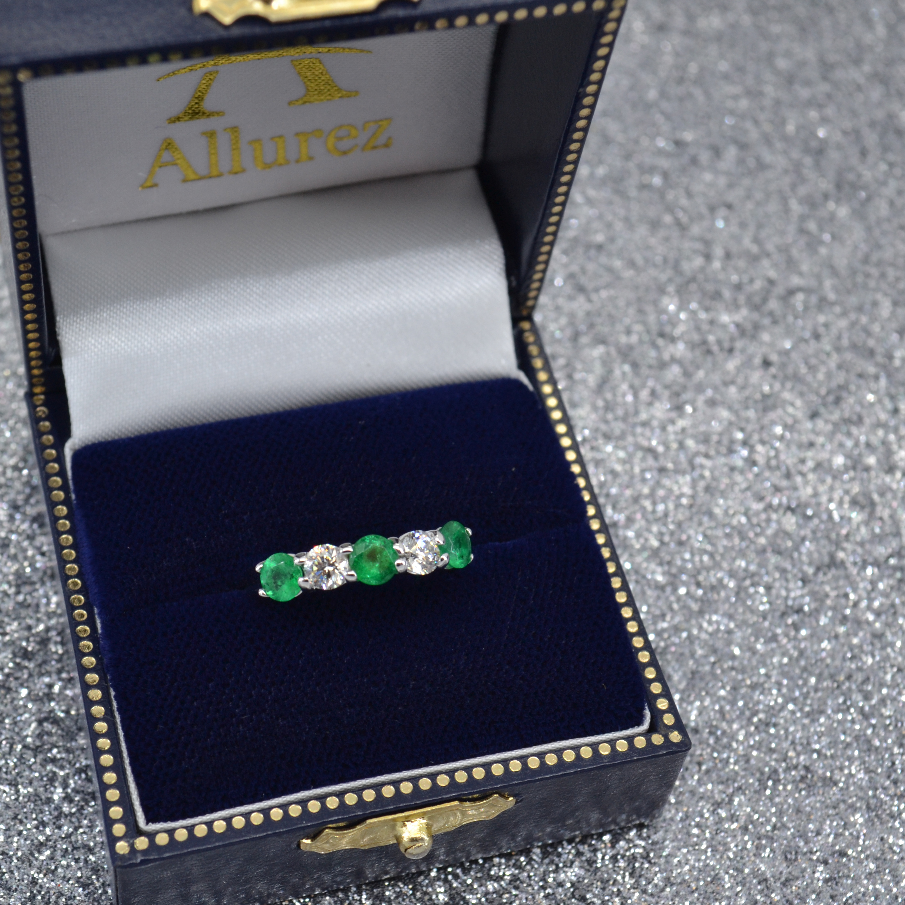 Five Stone Diamond and Emerald Ring 14k White Gold (1.95ctw)
