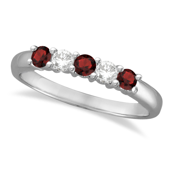 Five Stone Diamond and Garnet Ring 14k White Gold (0.67ctw)