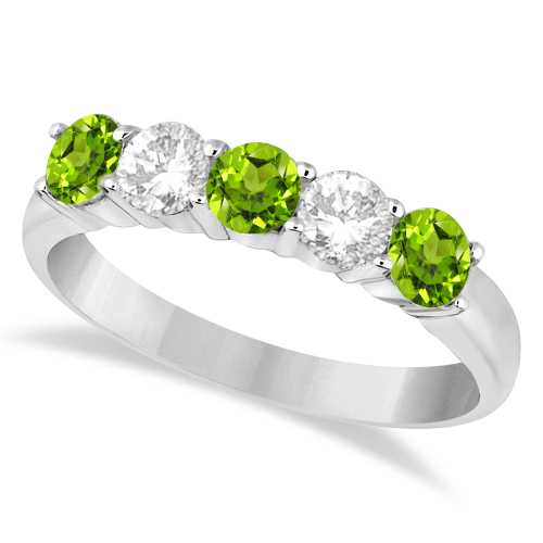 Five Stone Diamond and Peridot Ring 14k White Gold (1.36ctw)