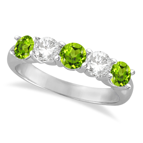 Five Stone Diamond and Peridot Ring 14k White Gold (1.92ctw)