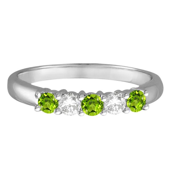 Five Stone Diamond and Peridot Ring 14k White Gold (0.67ctw)
