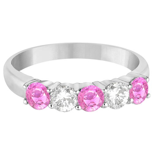 Five Stone Diamond and Pink Sapphire Ring 14k White Gold (1.08ctw)