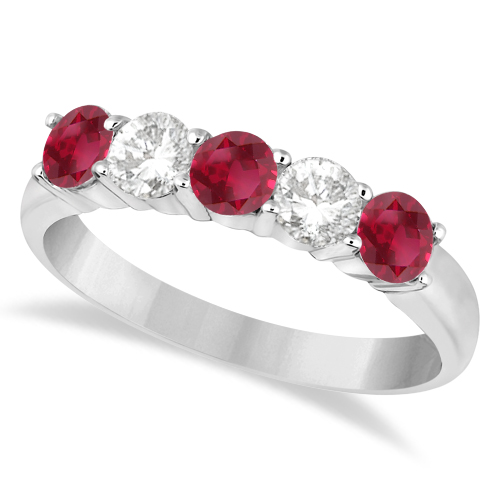 Five Stone Diamond and Ruby Ring 14k White Gold (1.08ctw)