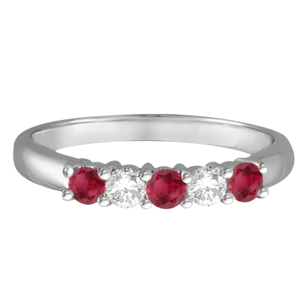 Five Stone Diamond and Ruby Ring 14k White Gold (0.55ctw)