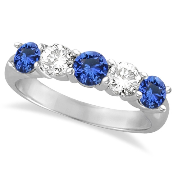 Five Stone Blue Sapphire & Diamond Ring 14k White Gold (1.50ctw)