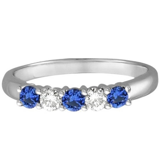 Five Stone Blue Sapphire & Diamond Ring 14k White Gold (0.50ctw)