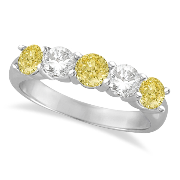 Five Stone White & Fancy Yellow Diamond Ring 14k White Gold (1.50ctw)