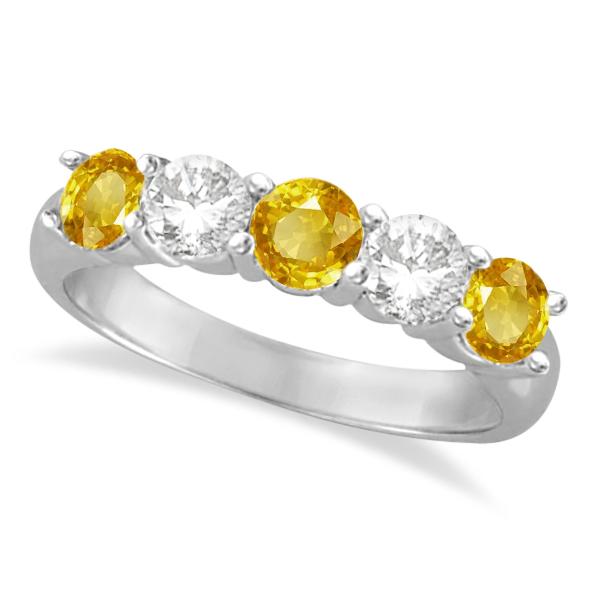 Five Stone Diamond and Yellow Sapphire Ring 14k White Gold (1.95ctw)