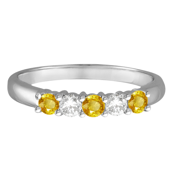 Five Stone Diamond and Yellow Sapphire Ring 14k White Gold (0.55ctw)