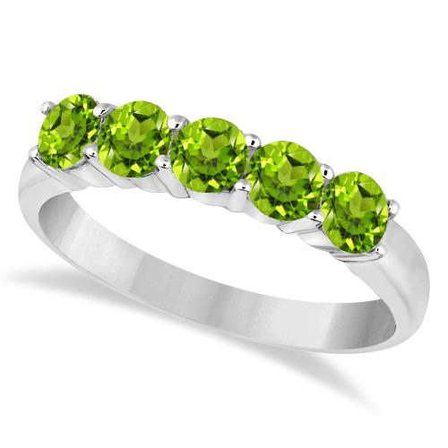 Five Stone Peridot Ring 14k White Gold (1.60ctw)