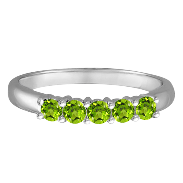 Five Stone Peridot Ring 14k White Gold (0.79ctw)