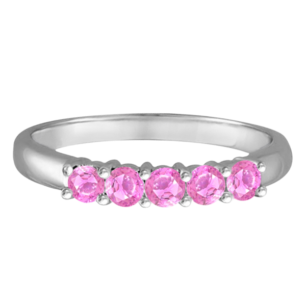 Five Stone Pink Sapphire Ring 14k White Gold (0.60ctw)
