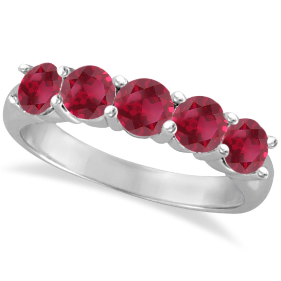 Five Stone Ruby Ring Anniversary Band 14k White Gold (2.25ctw)