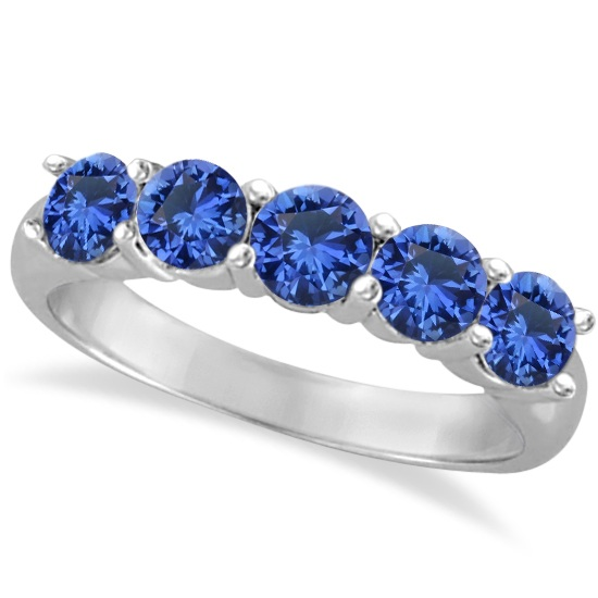 Five Stone Blue Sapphire Ring Band 14k White Gold (2.20ct)