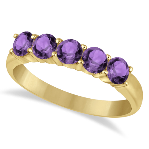 Five Stone Amethyst Ring 14k Yellow Gold (1.60ctw)