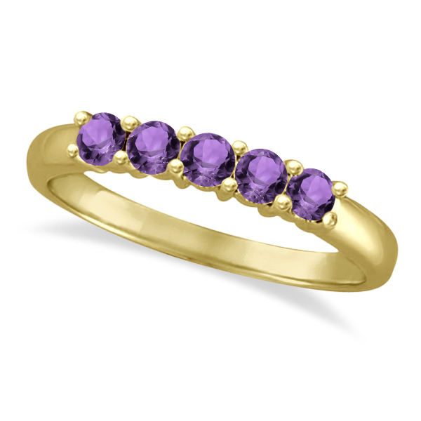 Five Stone Amethyst Ring 14k Yellow Gold (0.79ctw)