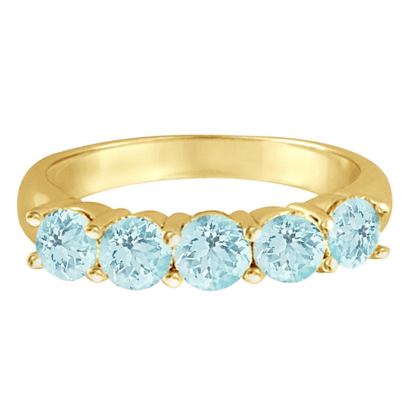 Five Stone Aquamarine Ring 14k Yellow Gold (2.20ctw)