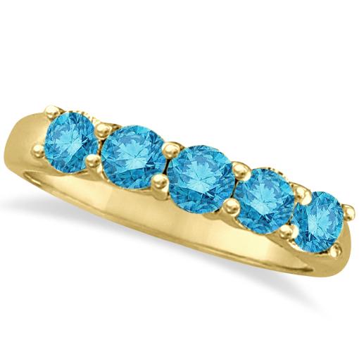 Five Stone Blue Diamond Ring 14k Anniversary Band Yellow Gold (1.00ct)