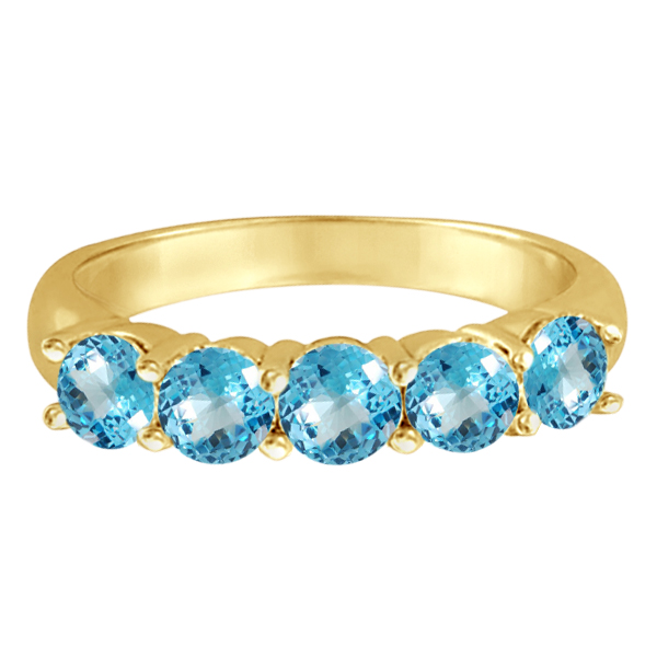 Five Stone Blue Topaz Ring 14k Yellow Gold (2.20ctw)