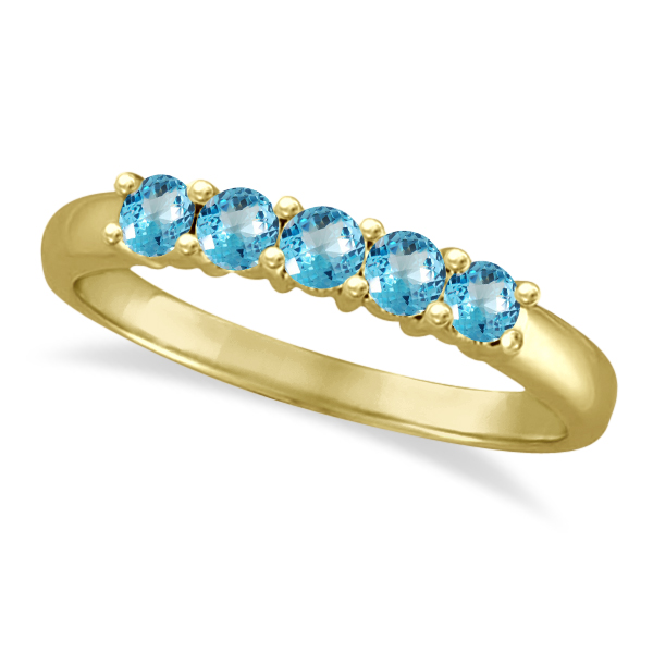 Five Stone Blue Topaz Ring 14k Yellow Gold (0.79ctw)