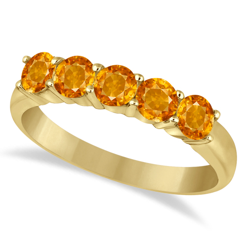 Five Stone Citrine Ring 14k Yellow Gold (1.60ctw)