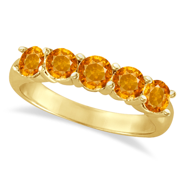 Five Stone Citrine Ring 14k Yellow Gold (2.20ctw)