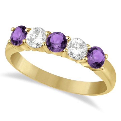 Five Stone Diamond and Amethyst Ring 14k Yellow Gold (1.36ctw)