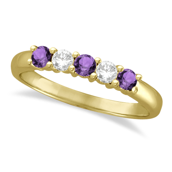 Five Stone Diamond and Amethyst Ring 14k Yellow Gold (0.67ctw)