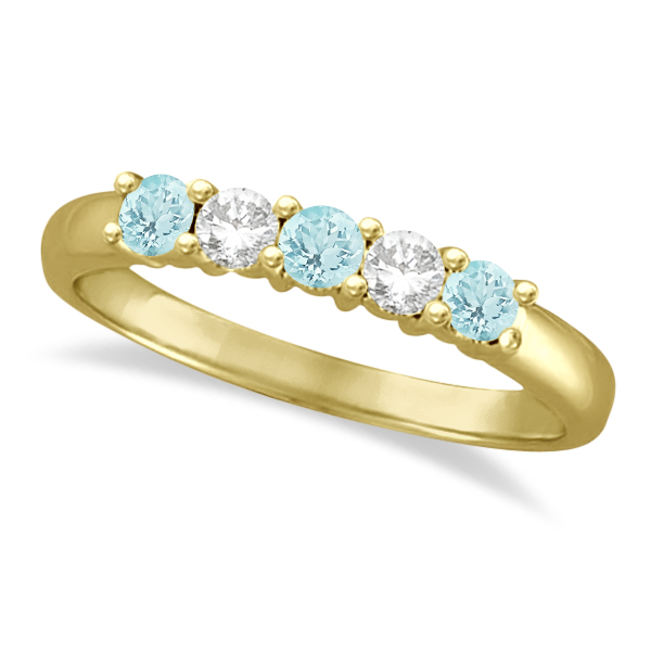 Five Stone Diamond and Aquamarine Ring 14k Yellow Gold (0.67ctw)