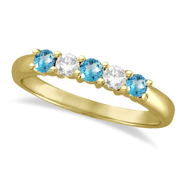 Five Stone Diamond and Blue Topaz Ring 14k Yellow Gold (0.67ctw)