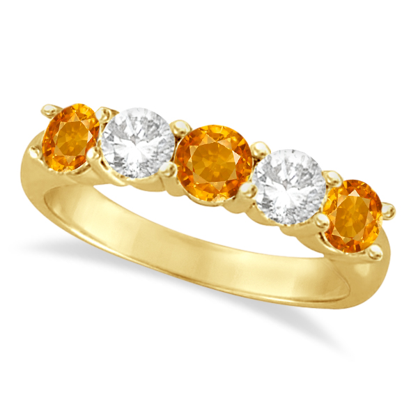 Five Stone Diamond and Citrine Ring 14k Yellow Gold (1.92ctw)