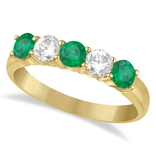 Five Stone Diamond and Emerald Ring 14k Yellow Gold (1.08ctw)