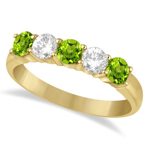 Five Stone Diamond and Peridot Ring 14k Yellow Gold (1.36ctw)