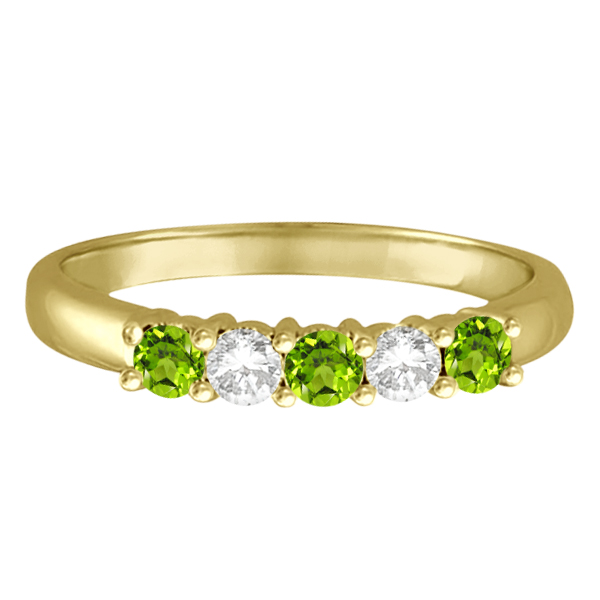 Five Stone Diamond and Peridot Ring 14k Yellow Gold (0.67ctw)