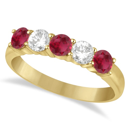 Five Stone Diamond and Ruby Ring 14k Yellow Gold (1.08ctw)