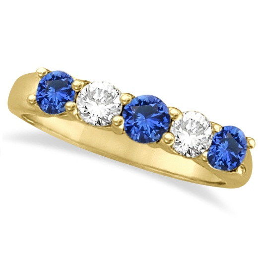 Five Stone Blue Sapphire & Diamond Ring 14k Yellow Gold (1.00ctw)