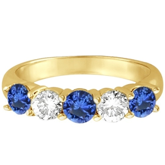 Five Stone Blue Sapphire & Diamond Ring 14k Yellow Gold (1.50ctw)