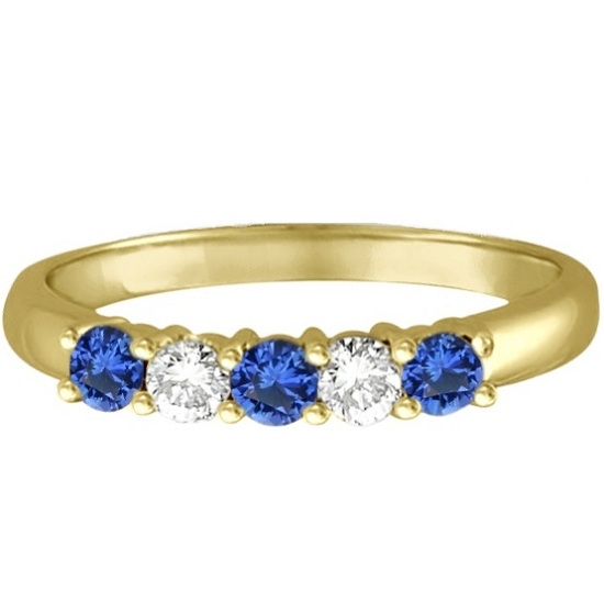 Five Stone Blue Sapphire & Diamond Ring 14k Yellow Gold (0.50ctw)